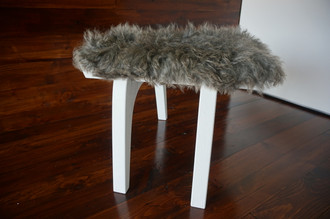 Minimalist white Oak wood stool Upholstered with curly silver Norwegian Pelssau sheepskin - S051603