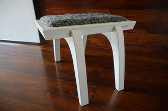 Minimalist white Oak wood stool Upholstered with curly silver Swedish Gotland sheepskin - S051605