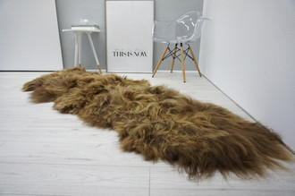 Amazing Genuine Rare Breed Icelandic - Double Natural Sheepskin Rug - Rusty Brown Mix - DI 10