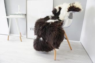 Wonderful Genuine Natural Sheepskin Rug - Soft Thick Wool - Choco Brown | Creamy White | Champagne Mix - SN 146