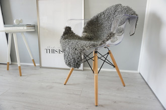 Genuine - Rare Breed Swedish Gotland Sheepskin Rug - Soft Curly Wool - Natural Grey | Ash | Silver | Ivory Mix - SG 143