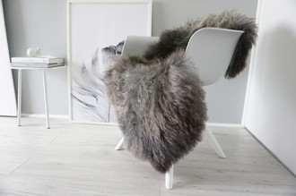 Genuine - Rare Breed Scandinavian - Norway Pelssau Sheepskin Rug - Extremely Soft Silky Wool - Silver | Grey | Latte Mix - SS 62