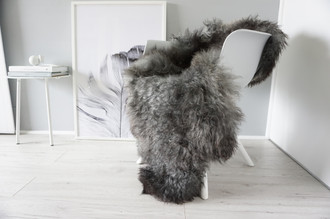 Genuine - Rare Breed Scandinavian - Norway Pelssau Sheepskin Rug - Extremely Soft Silky Wool - Silver | Grey | Ash | Black Mix - SS 82