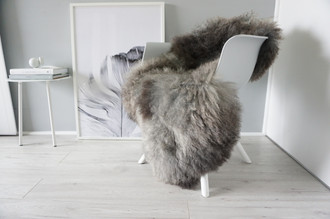 Genuine - Rare Breed Scandinavian - Norway Pelssau Sheepskin Rug - Extremely Soft Silky Wool - Silver | Grey | Ash | Brown Mix - SS 84
