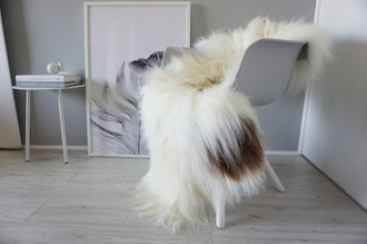 Natural Genuine GIANT XXL Rare Breed Icelandic Sheepskin Rug - Creamy White | Rusty Brown Mix - Soft Long Wool - SI 217