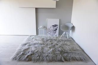 Genuine Rare Breed Icelandic - Square - Rectangular Natural Sheepskin Rug - Dyed Grey | Silver | Ash | Tan Mix - RCTI 1