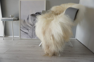 Natural Genuine Rare Breed Giant Icelandic Sheepskin Rug - Creamy White | Silver | Ivory | Latte  Mix - Soft Long Wool - SI 289
