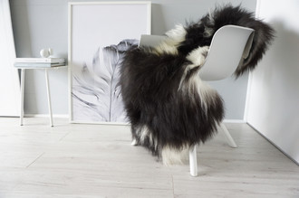 Natural Genuine Rare Breed Giant Icelandic Sheepskin Rug - Blacky Brown | Creamy White Mix - Soft Long Wool - SI 295