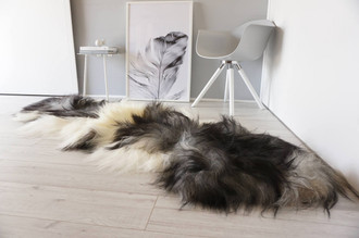 Genuine Rare Breed Icelandic - Double Natural Sheepskin Rug | Blacky Brown | Creamy White | Silver | Grey Mix - DI 20