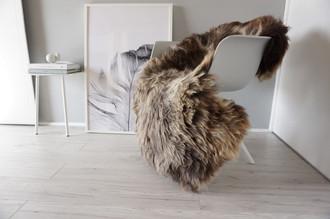 Genuine Sheepskin Rug Soft Thick Wool -  Brown White Grey Ash Mix SN 232