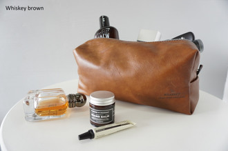 Men's Finest Leather Toiletry Bag | Groomsmen | Wash bag | Travel bag - Handmade