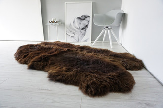 Genuine Natural - Choco Brown Mix Quad Sheepskin Rug - Soft Thick Wool - QN 21