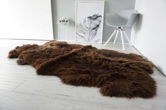 Genuine Natural - Choco Brown Mix Quad Sheepskin Rug - Soft Thick Wool - QN 23