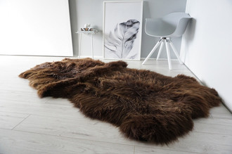 Genuine Natural - Choco Brown Mix Quad Sheepskin Rug - Soft Thick Wool - QN 24