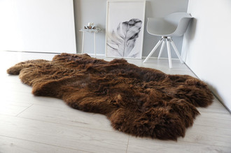Genuine Natural - Choco Brown Mix Quad Sheepskin Rug - Soft Thick Wool - QN 25