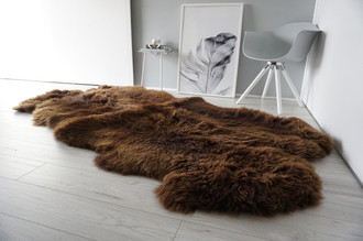 Genuine Natural - Choco Brown Mix Quad Sheepskin Rug - Soft Thick Wool - QN 26