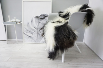 Genuine Icelandic Sheepskin Rug - Blacky Brown | Creamy White Mix - Soft Touch Long Wool - SI 342