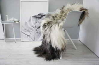 Genuine Icelandic Sheepskin Rug - Blacky Brown | Silver | Creamy White Mix - Soft Touch Long Wool - SI 343