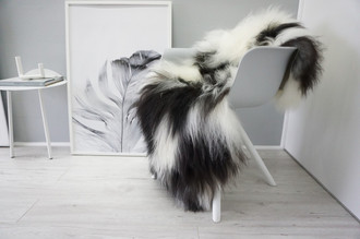 Genuine Icelandic Sheepskin Rug - Blacky Brown | Creamy White Mix - Soft Touch Long Wool - SI 344