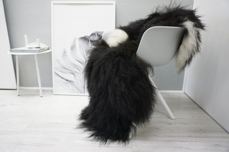 Genuine Icelandic Sheepskin Rug - Blacky Brown | Creamy White Mix - Soft Touch Long Wool - SI 345