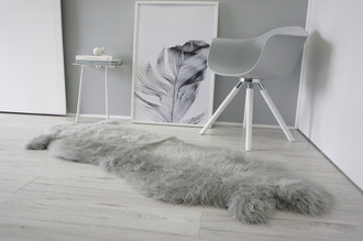 Genuine Double Natural Sheepskin Rug - Extremely soft wool - Dyed Grey | Silver | Ash | Tan Mix - DN 43