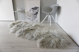 Genuine Rare Breed Icelandic - Double Natural Sheepskin Rug Dyed Grey | Silver | Ash | Tan | Ivory Mix - DI 33