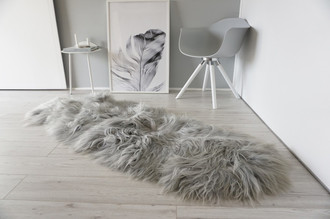 Genuine Rare Breed Icelandic - Double Natural Sheepskin Rug Dyed Grey | Silver | Ash | Tan | Ivory Mix - DI 34