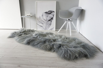 Genuine Rare Breed Icelandic - Double Natural Sheepskin Rug Dyed Grey   Silver   Ash   Green Mix - DI 35