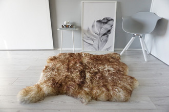 Genuine Natural Double Side by Side Sheepskin Rug | Soft Wool | Cream White | Brown tipped Mix - SBN 30