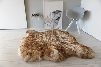 Genuine Natural Double Side by Side Sheepskin Rug | Soft Wool | Cream White | Brown tipped Mix - SBN 32