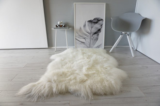 Genuine Natural Double Side by Side Sheepskin Rug | Soft Wool | Cream White | Beige | Ivory Mix - SBN 34