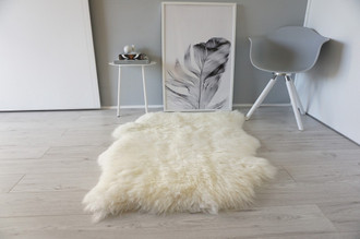 Genuine Natural Double Side by Side Sheepskin Rug | Soft Wool | Cream White | Ivory Mix - SBN 35