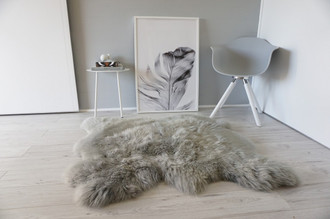 Genuine Double Side by Side Natural Sheepskin Rug - Extremely soft wool - Dyed Grey | Silver | Ash | Tan Mix - SBN 37