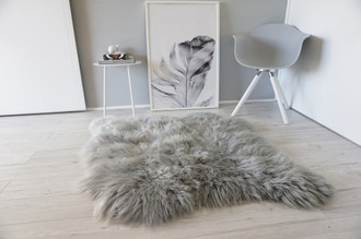 Genuine Double Side by Side Natural Sheepskin Rug - Extremely soft wool - Dyed Grey | Silver | Ash | Tan Mix - SBN 38