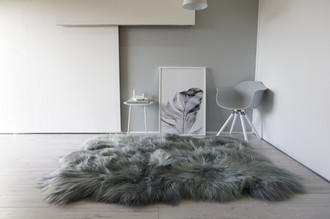 Genuine Rare Breed Icelandic - Sexto (6) Natural Sheepskin Rug Dyed Grey | Silver | Ash | Green Mix - SXI 8