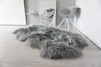 Luxury Genuine Quad (4) Icelandic Sheepskin Rug - Dyed Silver   Grey   Ash   Green mix - Super Soft Silky Long Wool - QI 11