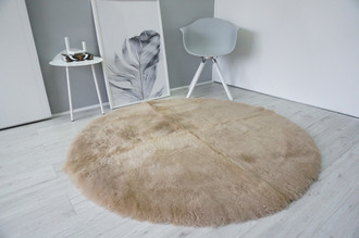 Genuine Round Sheepskin Rug - Dyed Light Brown colour - Shorn Super Soft Wool - RN 9