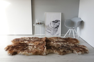 Genuine Natural Quad (4) Sheepskin Rug   Soft Wool   Cream White   Brown tipped Mix - QN 28