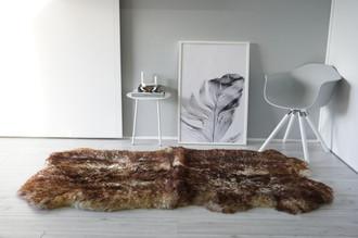 Genuine Natural Quad (4) Sheepskin Rug   Soft Wool   Cream White   Brown tipped Mix - QN 27