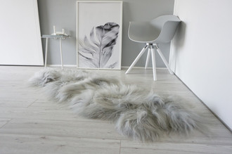 Genuine Rare Breed Icelandic - Double (2) Natural Sheepskin Rug Dyed Grey | Silver | Ash Mix - DI 38