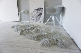 Genuine Rare Breed Icelandic - Double (2) Natural Sheepskin Rug Dyed Grey | Silver | Ash Mix - DI 39
