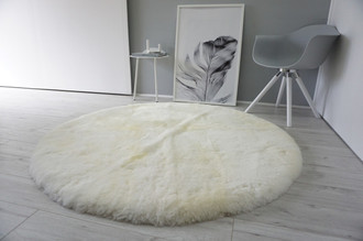 Genuine Natural Round Sheepskin Rug - Short Creamy White | Ivory | Champagne mix Wool - RN 10