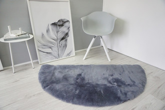 Genuine Natural Half Moon - Round Shape Sheepskin Rug - Short Super Soft Dyed Silver Grey Mix Wool - HRN 1