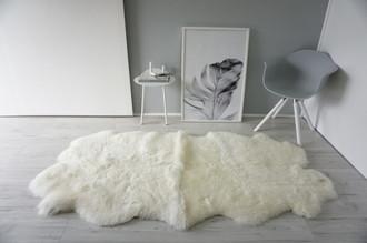 Genuine Natural - Quad (4) Sheepskin Rug - Cream White Mix - Super Soft Wool - QN 29