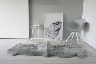 Genuine Quad (4) Natural Sheepskin Rug - Extremely soft wool - Dyed Grey   Silver   Ash   Tan Mix - QN 31