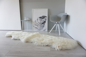 Genuine Double (2) sheepskin rug - Soft wool - Cream White with Brown | Latte mix - DN 54
