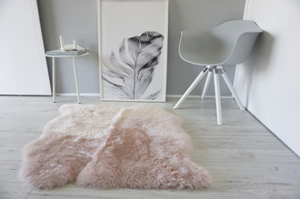 Genuine Australian Double (2) Side by Side Sheepskin Rug - Super Soft Silky Blush Pink Wool