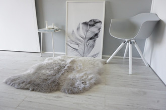 Genuine Australian Double (2) Side by Side Sheepskin Rug - Super Soft Silky Silver Wool