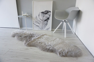 Genuine Australian Double (2) Sheepskin Rug - Super Soft Silky Silver Wool