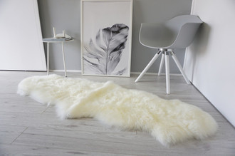 Genuine Australian Double (2) Sheepskin Rug - Super Soft Silky Cream White Ivory Mix Wool